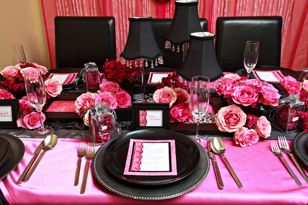 Wedding Theme Pink And Black Centerpieces Image Collections