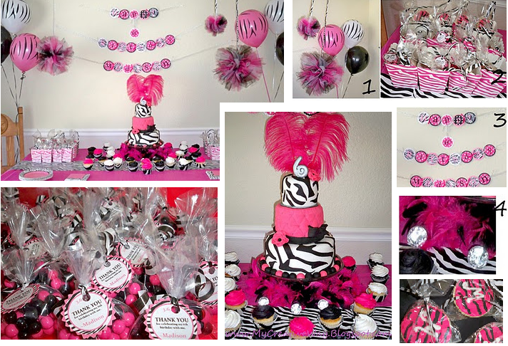 Pink and black party decorations 23 cool wallpaper for Animal print decoration party