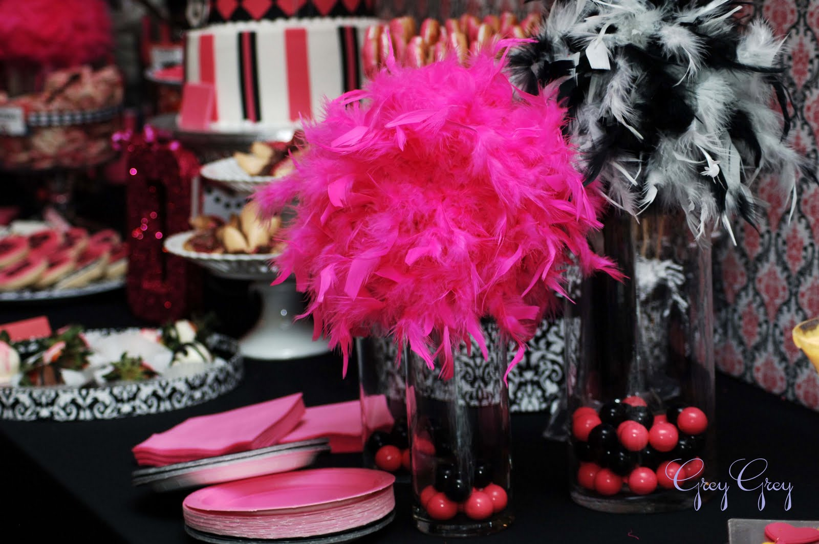 Pink and black party decorations high resolution