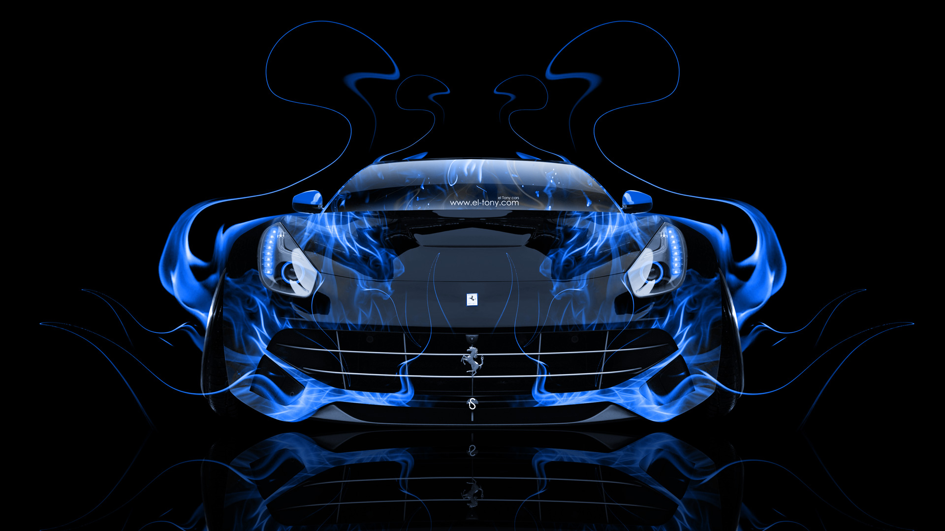 Blue Wallpaper Fire Ferrari Car